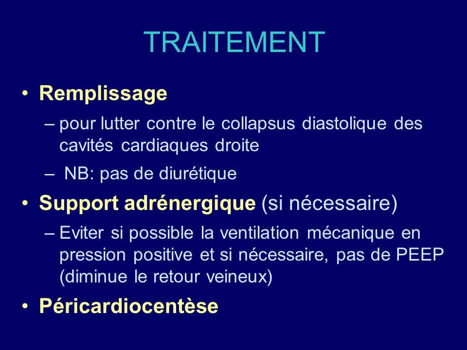 TRAITEMENT Remplissage Support adrénergique (si nécessaire)