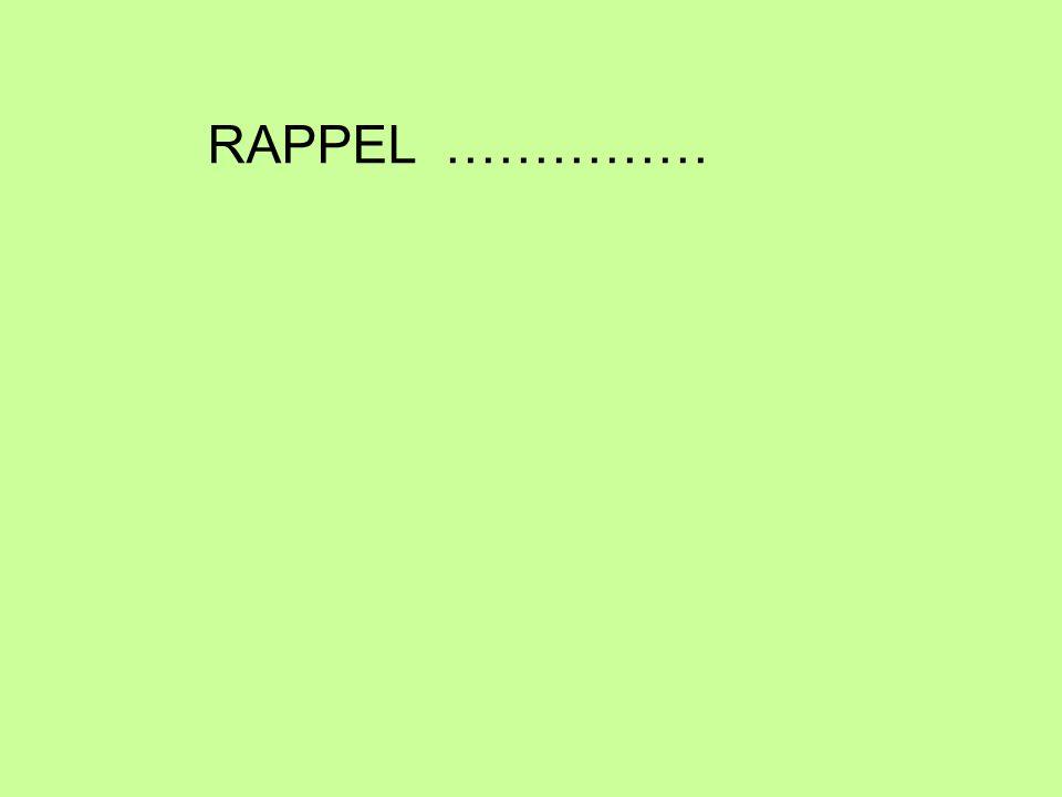 RAPPEL ……………
