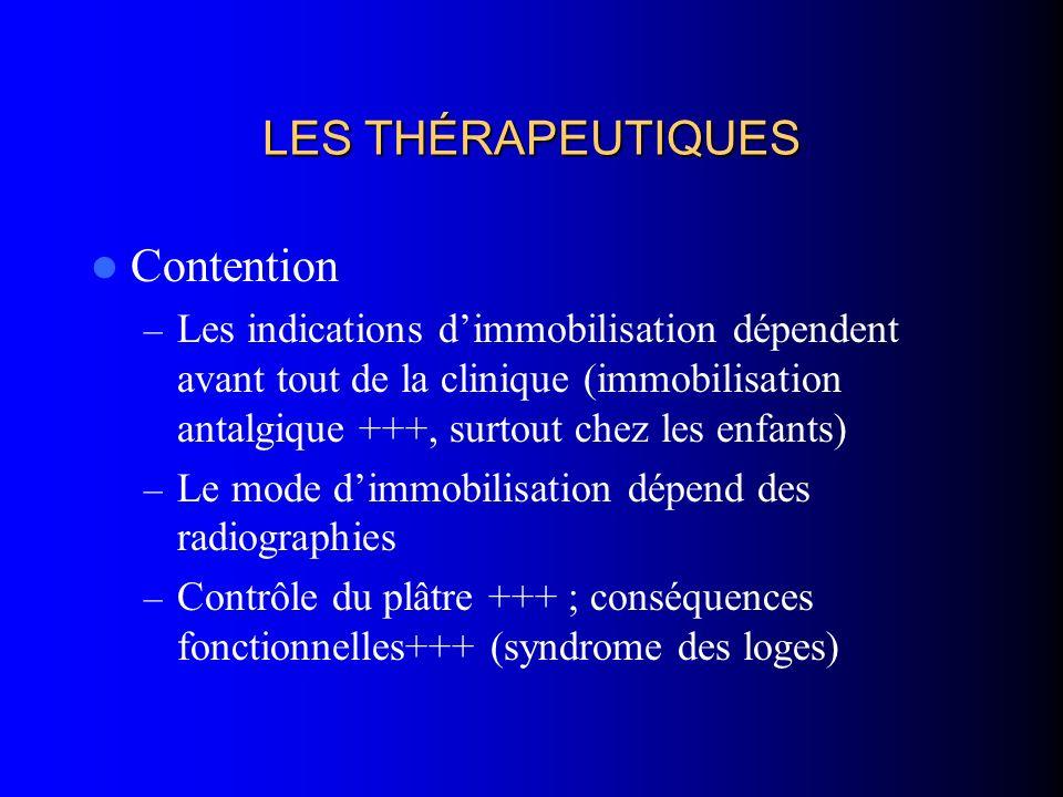 LES THÉRAPEUTIQUES Contention