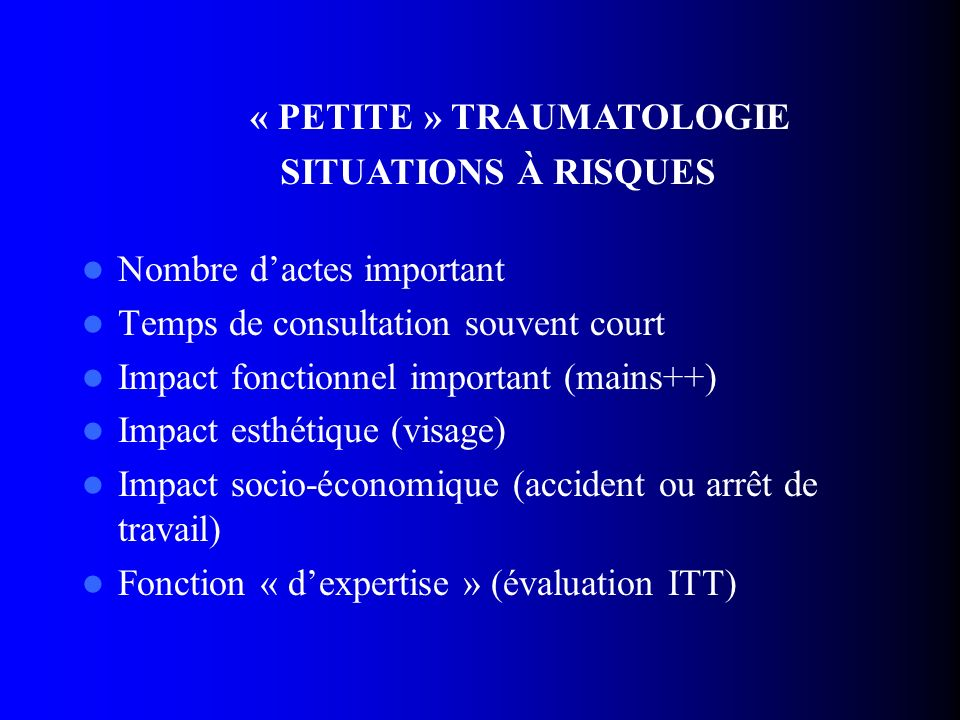 « PETITE » TRAUMATOLOGIE