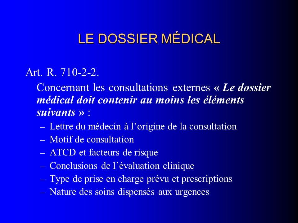 LE DOSSIER MÉDICAL Art. R. 710-2-2.