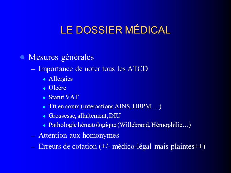 LE DOSSIER MÉDICAL Mesures générales Importance de noter tous les ATCD