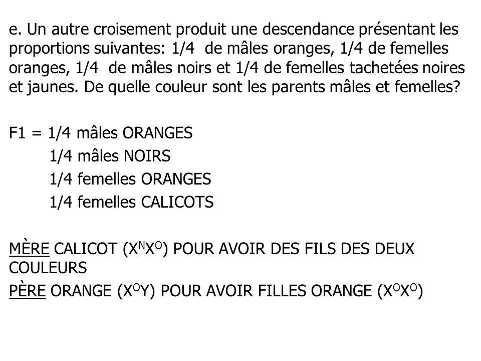 e. Un autre croisement produit une descendance présentant les proportions suivantes: 1/4 de mâles oranges, 1/4 de femelles oranges, 1/4 de mâles noirs et 1/4 de femelles tachetées noires et jaunes. De quelle couleur sont les parents mâles et femelles