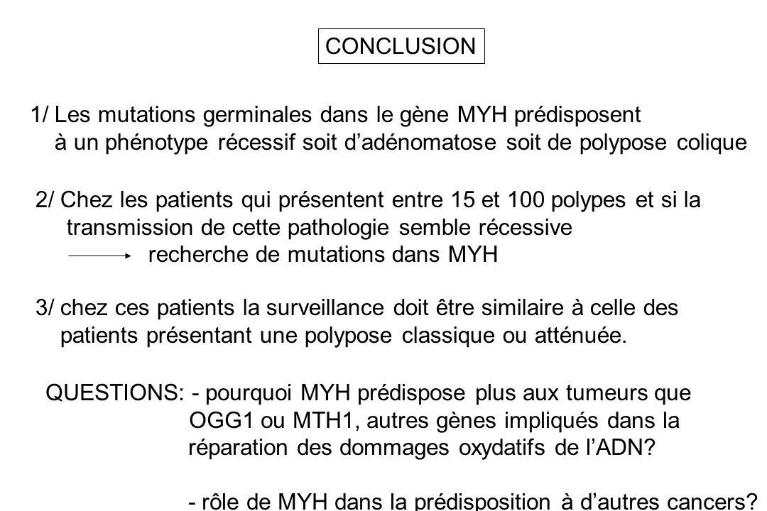 CONCLUSION 1/ Les mutations germinales dans le gène MYH prédisposent. à un phénotype récessif soit d'adénomatose soit de polypose colique.