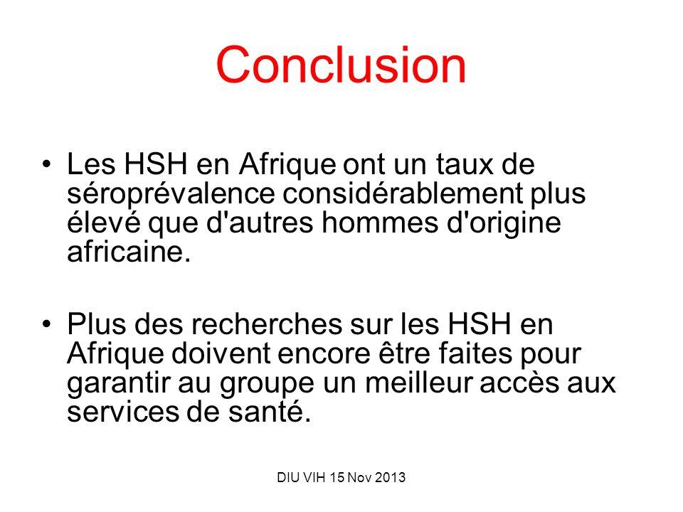 Conclusion Les HSH en Afrique ont un taux de séroprévalence considérablement plus élevé que d autres hommes d origine africaine.