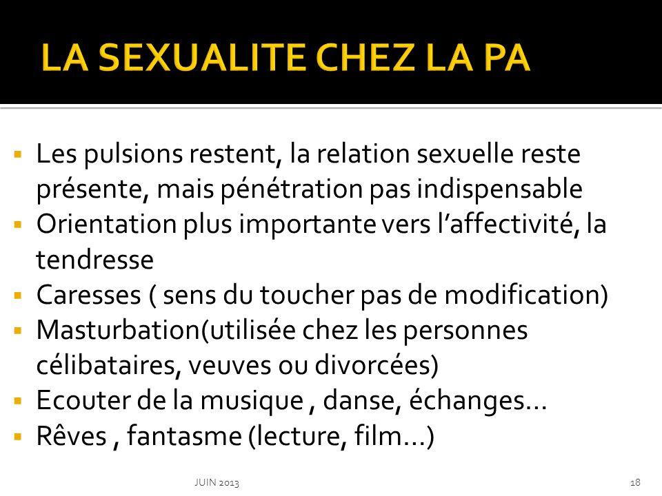 LA SEXUALITE CHEZ LA PA Les pulsions restent, la relation sexuelle reste présente, mais pénétration pas indispensable.