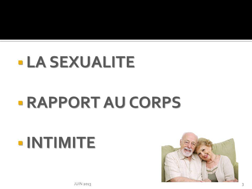 LA SEXUALITE RAPPORT AU CORPS INTIMITE JUIN 2013