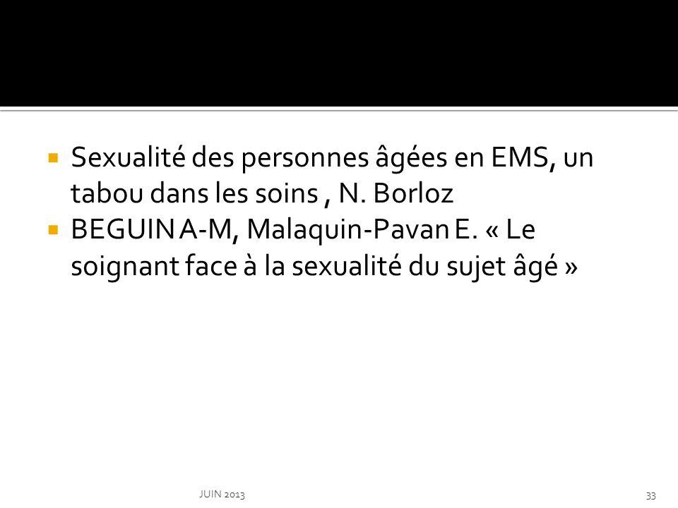 Sexualité des personnes âgées en EMS, un tabou dans les soins , N