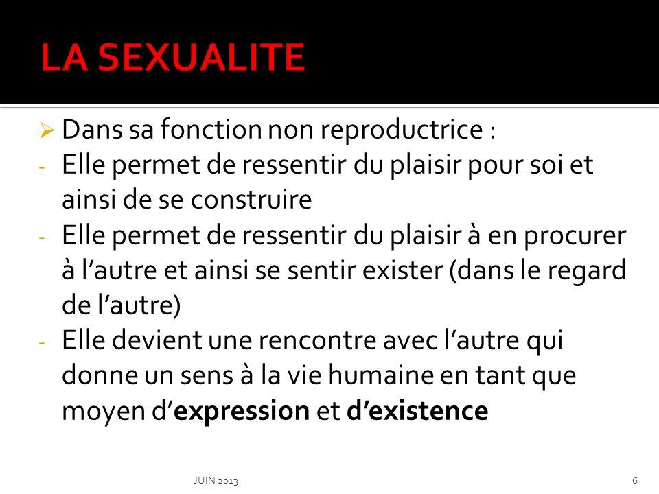 LA SEXUALITE Dans sa fonction non reproductrice :