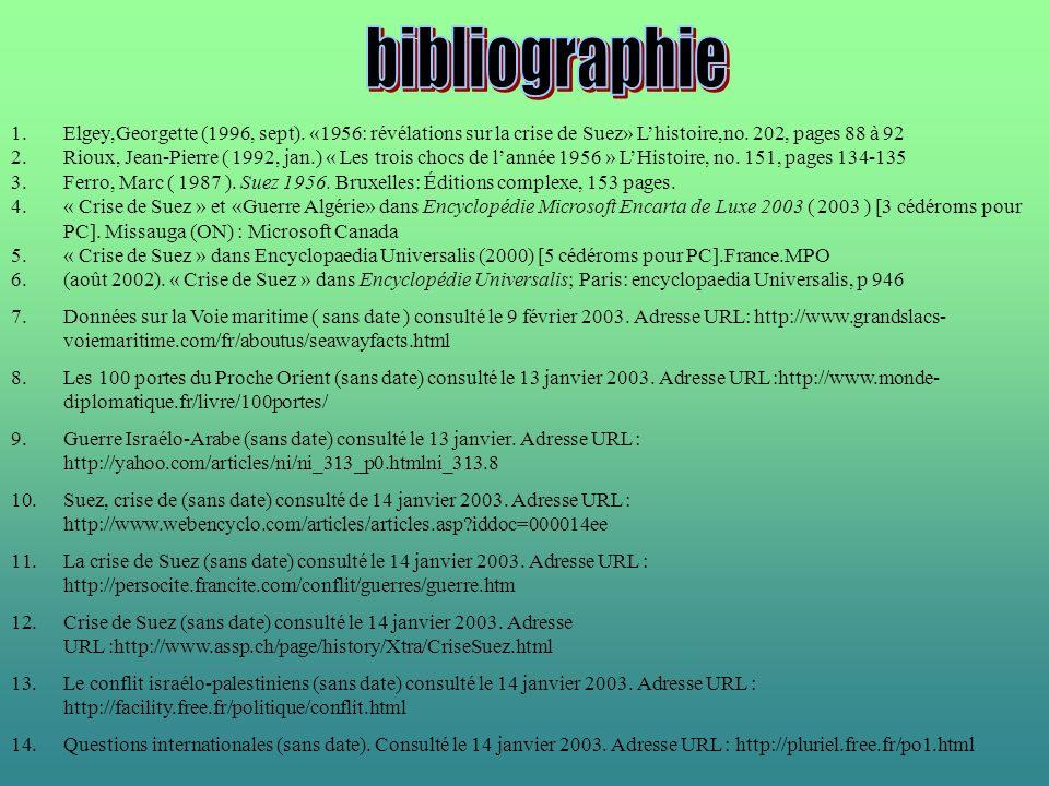 bibliographie Elgey,Georgette (1996, sept). «1956: révélations sur la crise de Suez» L'histoire,no. 202, pages 88 à 92.
