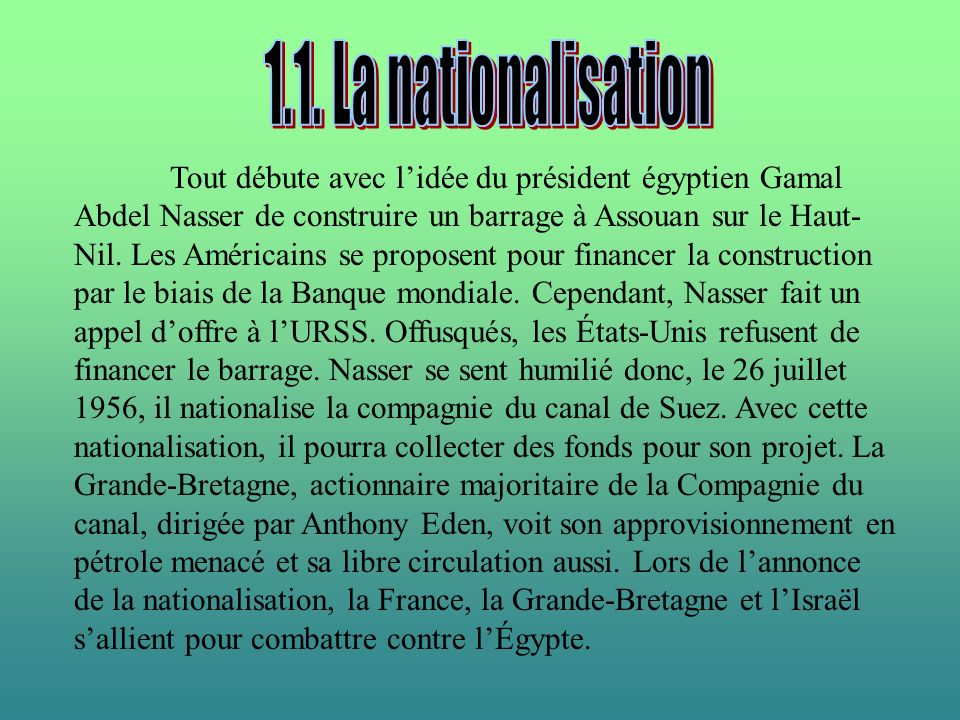 1.1. La nationalisation