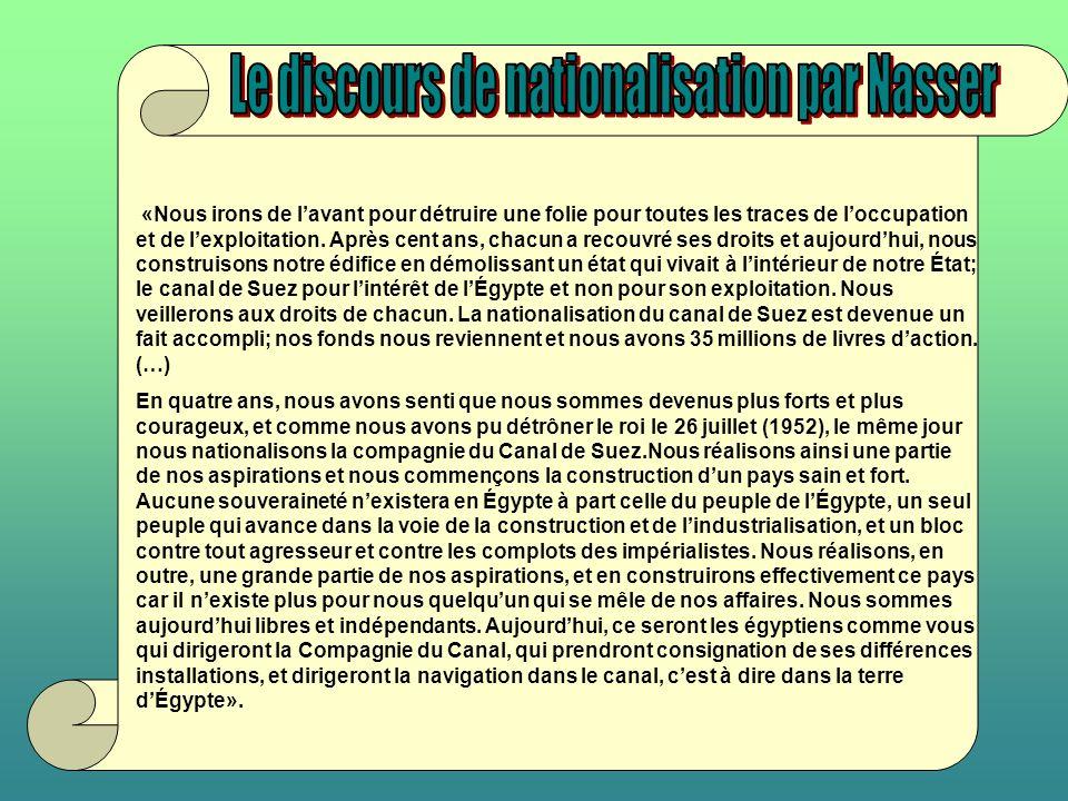 Le discours de nationalisation par Nasser