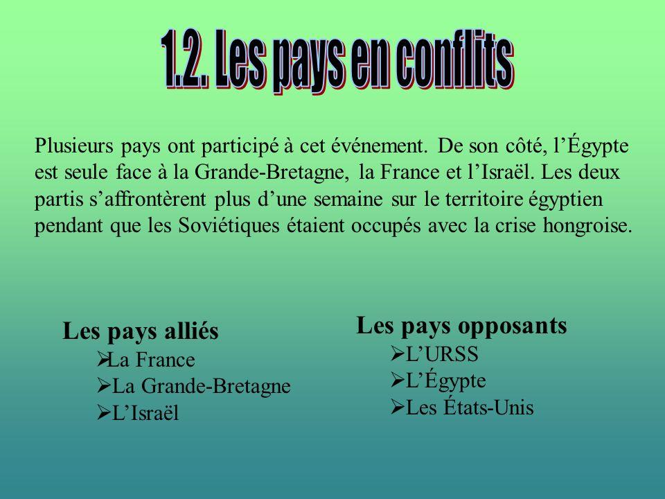 1.2. Les pays en conflits Les pays opposants Les pays alliés