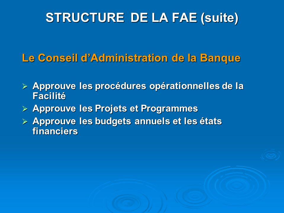 STRUCTURE DE LA FAE (suite)