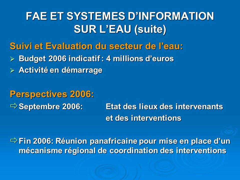 FAE ET SYSTEMES D'INFORMATION SUR L'EAU (suite)