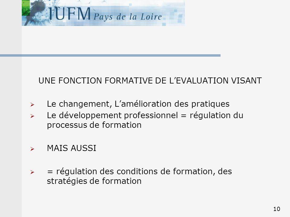 UNE FONCTION FORMATIVE DE L'EVALUATION VISANT