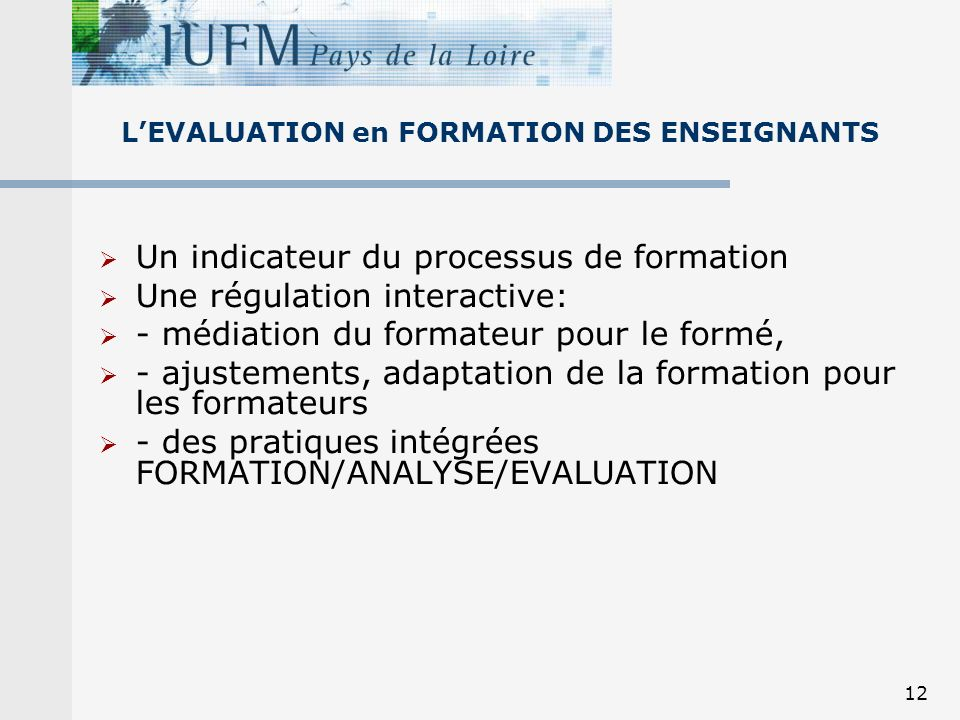 L'EVALUATION en FORMATION DES ENSEIGNANTS