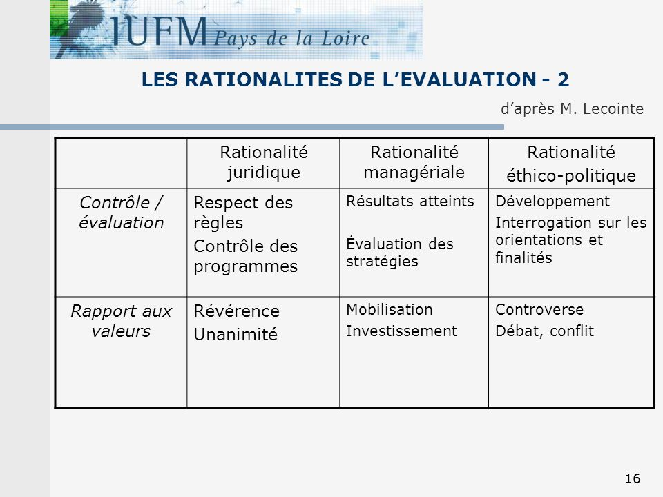 LES RATIONALITES DE L'EVALUATION - 2