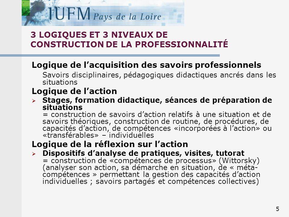 3 LOGIQUES ET 3 NIVEAUX DE CONSTRUCTION DE LA PROFESSIONNALITÉ