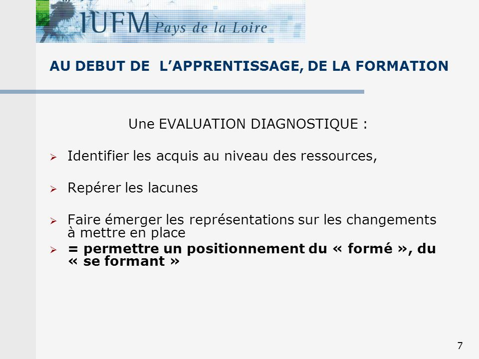 AU DEBUT DE L'APPRENTISSAGE, DE LA FORMATION