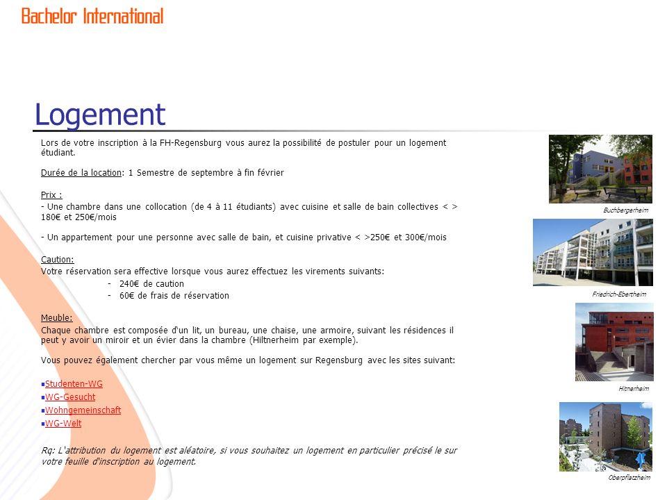 Logement Lors de votre inscription à la FH-Regensburg vous aurez la possibilité de postuler pour un logement étudiant.