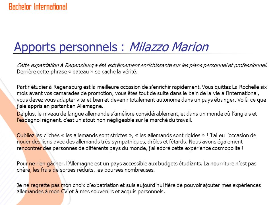 Apports personnels : Milazzo Marion