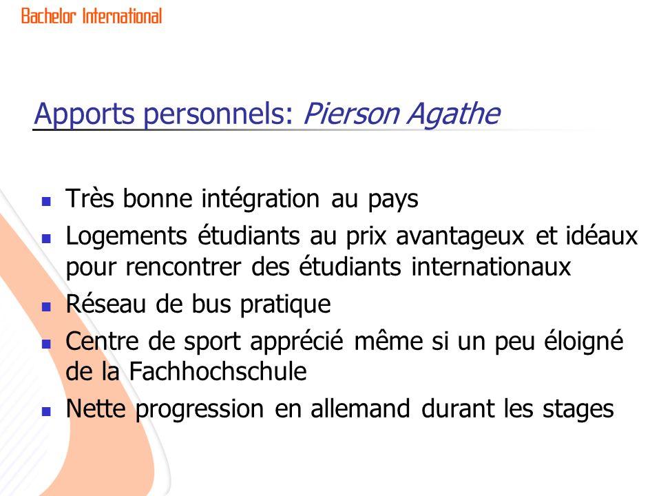 Apports personnels: Pierson Agathe