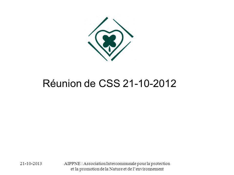 Réunion de CSS 21-10-2012 21-10-2013.