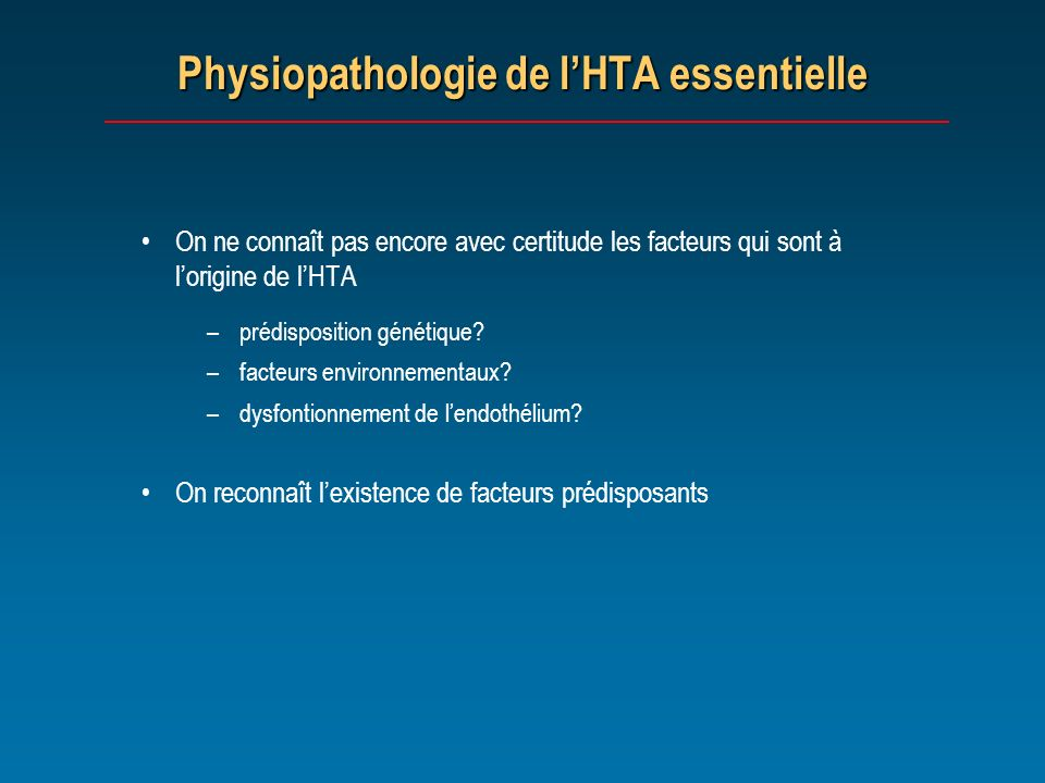 Physiopathologie de l'HTA essentielle
