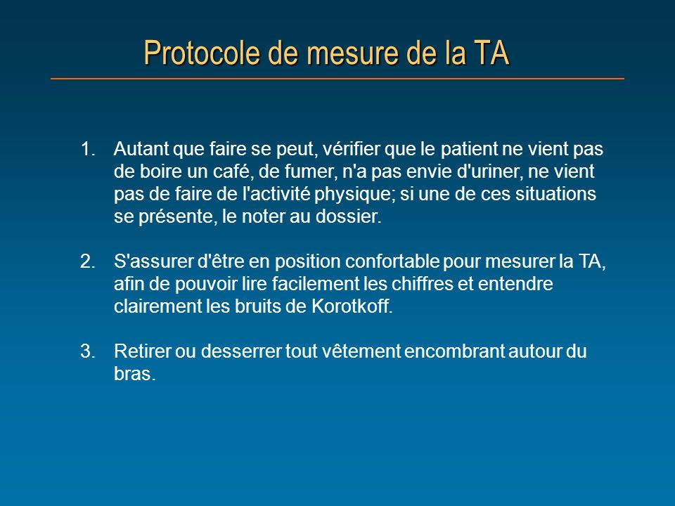 Protocole de mesure de la TA