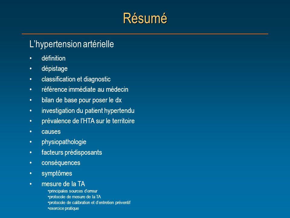 Résumé L'hypertension artérielle définition dépistage