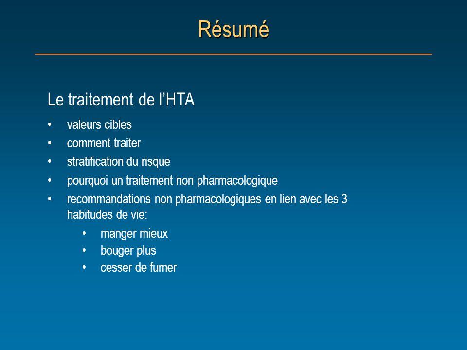 Résumé Le traitement de l'HTA valeurs cibles comment traiter