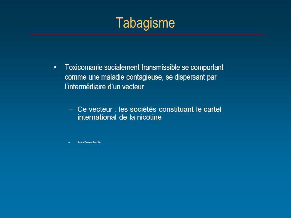 Tabagisme Toxicomanie socialement transmissible se comportant comme une maladie contagieuse, se dispersant par l'intermédiaire d'un vecteur.