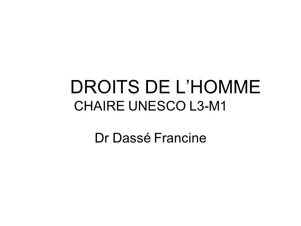 DROITS DE L'HOMME CHAIRE UNESCO L3-M1