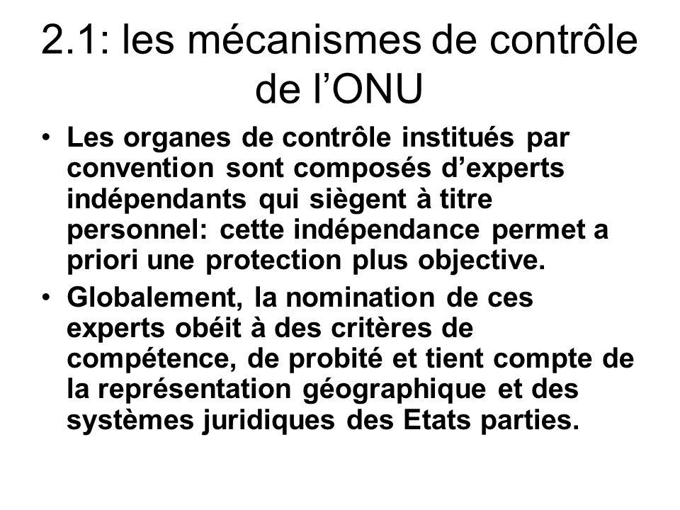 2.1: les mécanismes de contrôle de l'ONU