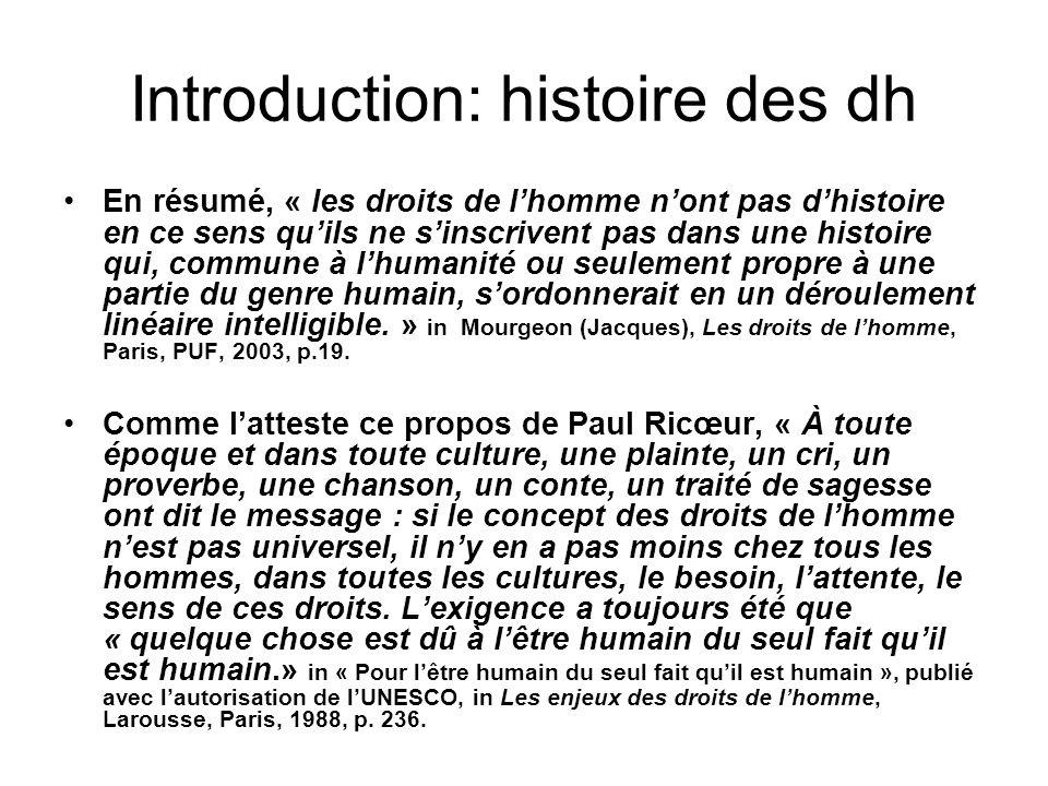 Introduction: histoire des dh