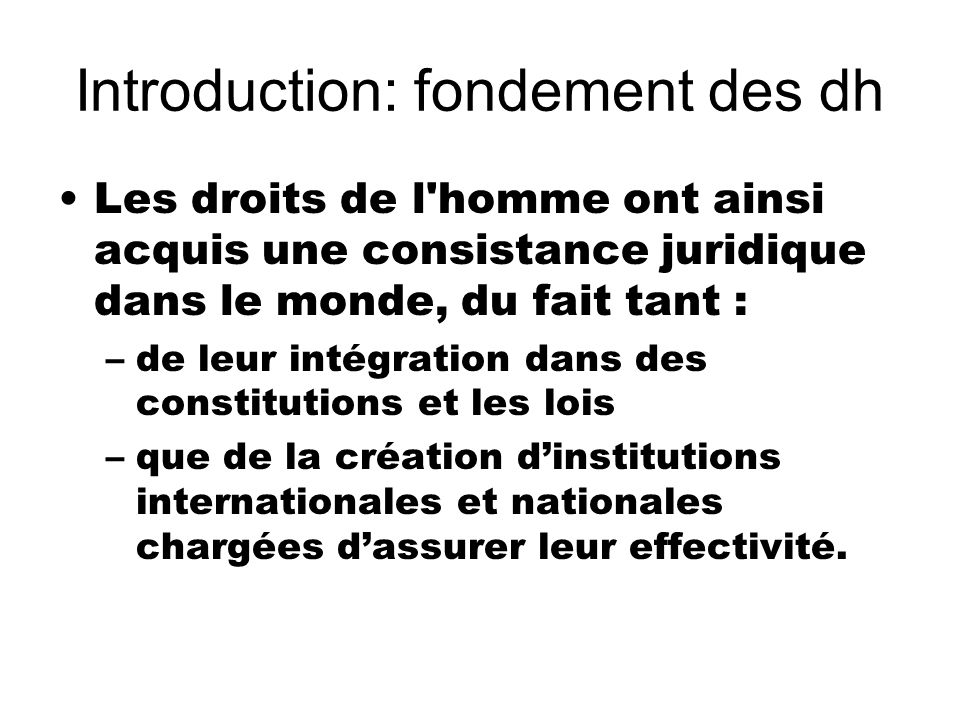 Introduction: fondement des dh