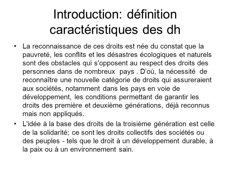 Introduction: définition caractéristiques des dh