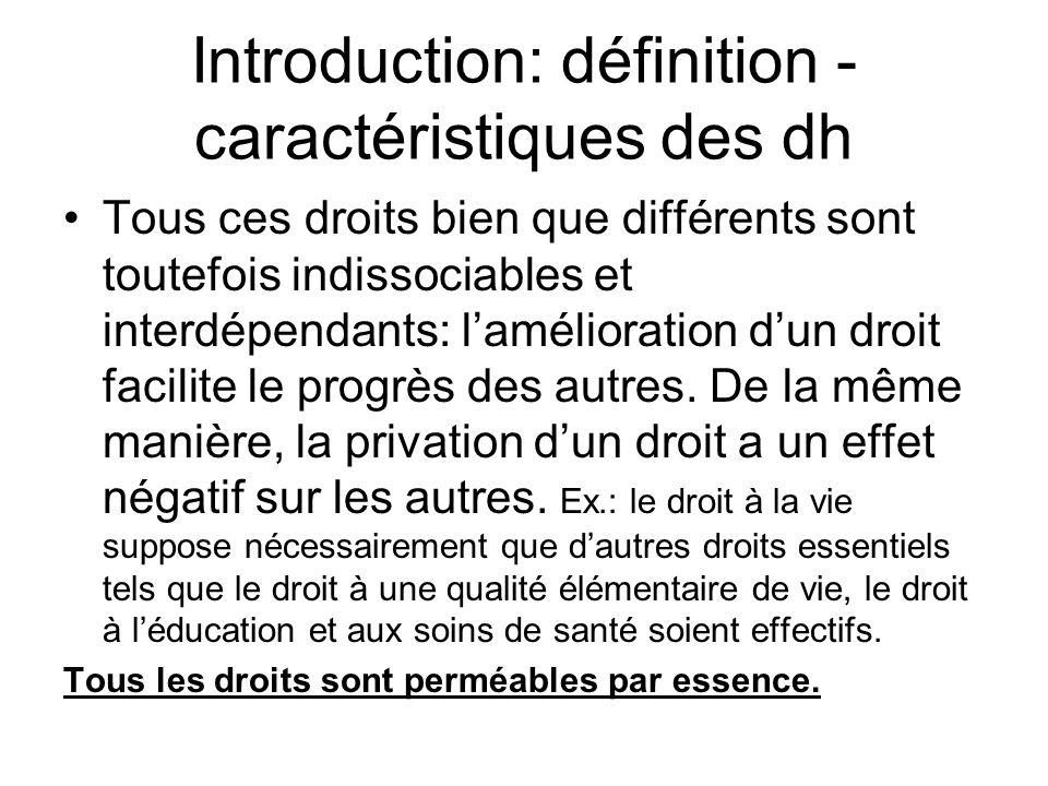 Introduction: définition - caractéristiques des dh