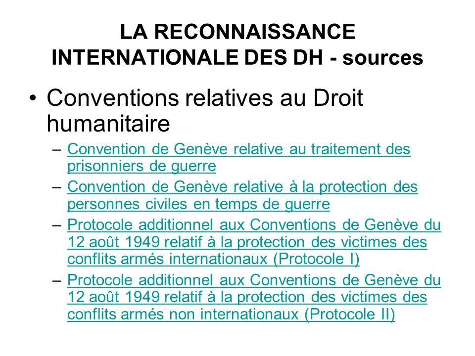 LA RECONNAISSANCE INTERNATIONALE DES DH - sources