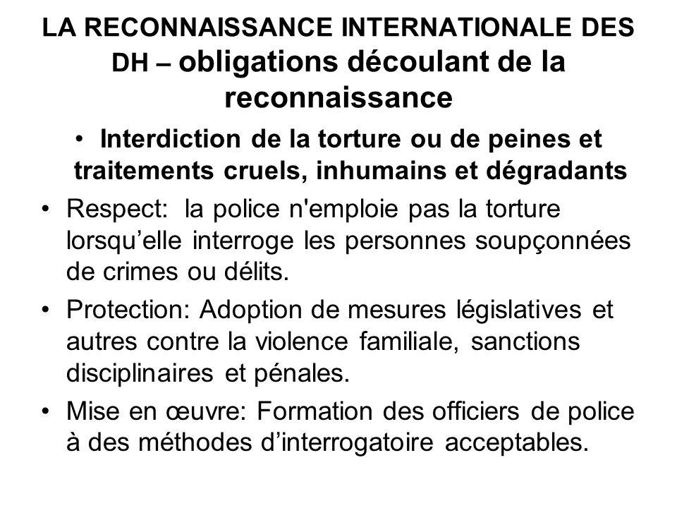 LA RECONNAISSANCE INTERNATIONALE DES DH – obligations découlant de la reconnaissance
