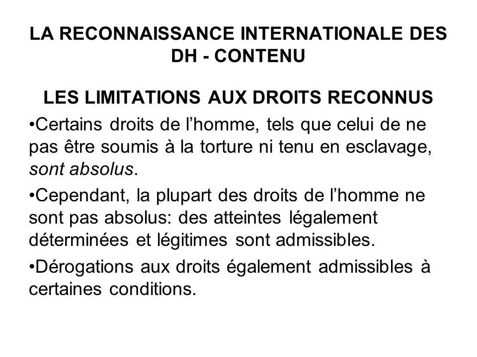 LA RECONNAISSANCE INTERNATIONALE DES DH - CONTENU