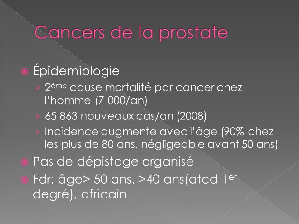 Cancers de la prostate Épidemiologie Pas de dépistage organisé
