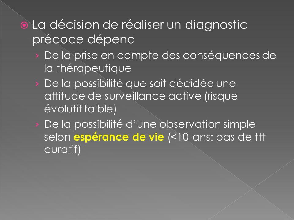 La décision de réaliser un diagnostic précoce dépend
