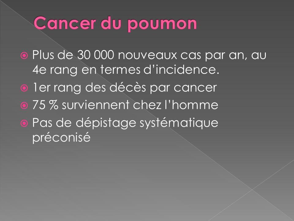 Cancer du poumon Plus de 30 000 nouveaux cas par an, au 4e rang en termes d'incidence. 1er rang des décès par cancer.