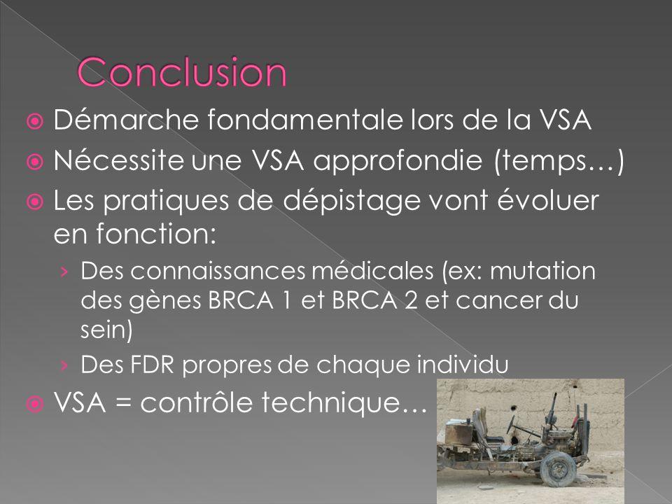 Conclusion Démarche fondamentale lors de la VSA