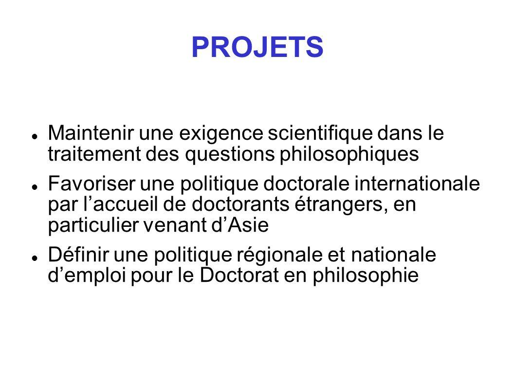 PROJETS Maintenir une exigence scientifique dans le traitement des questions philosophiques.