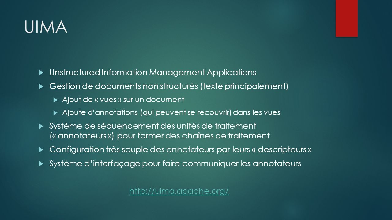 UIMA Unstructured Information Management Applications