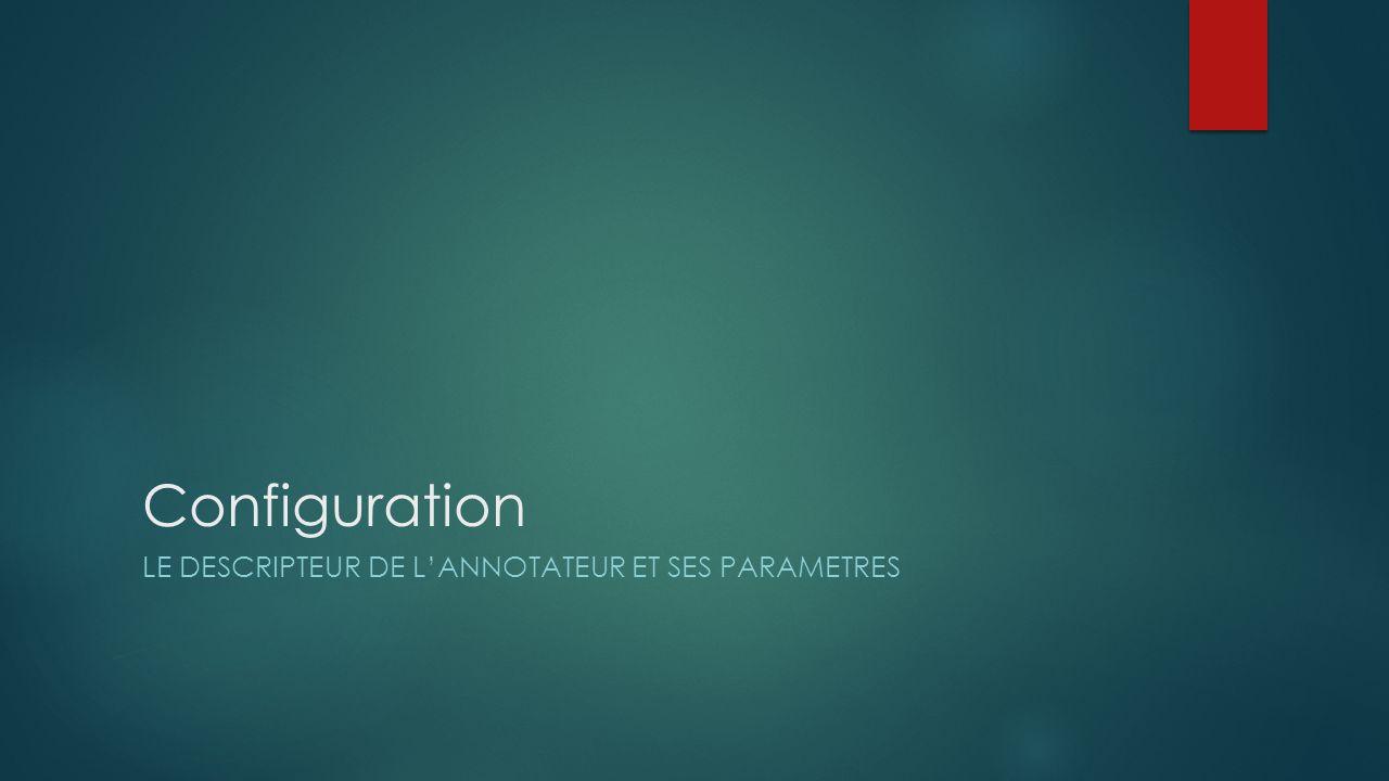 Configuration Le descripteur de l'annotateur et ses parametres