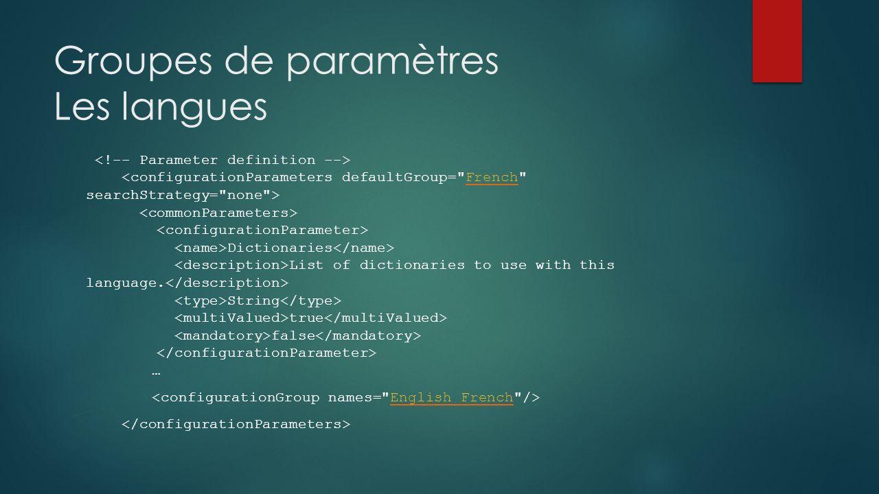 Groupes de paramètres Les langues